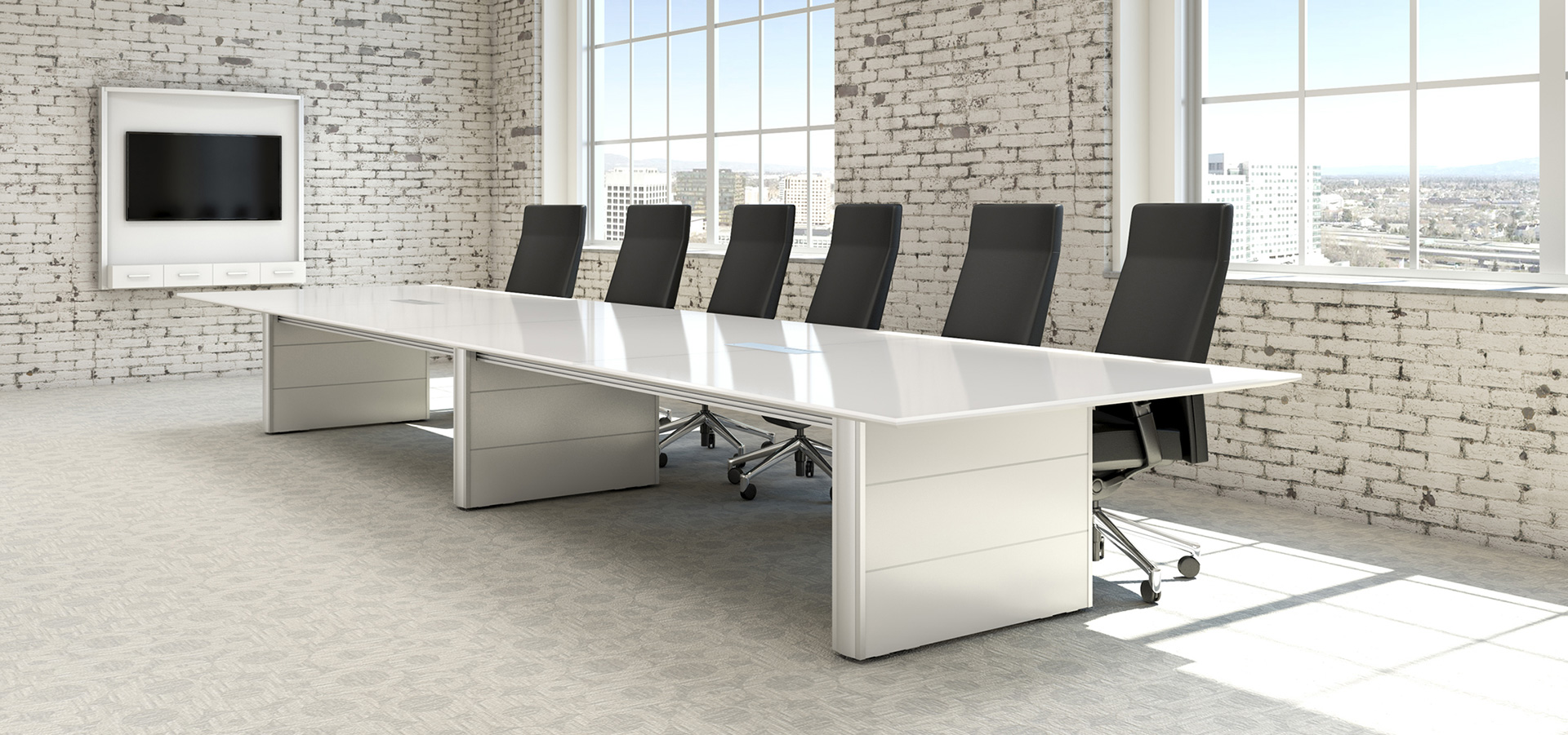 OffSpace Meeting Room - Glass top conference room table